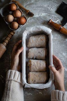 Hot cross bun milk loaf - twigg studios in 2020 Baking Tins, Bread Baking, Hokkaido Milk Bread, Fruit Fast, Milk Bread Recipe, No Knead Bread, Hot Cross Buns, Loaf Recipes, Mixed Fruit