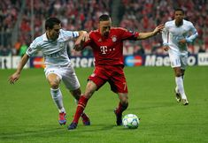 Franck Ribery (R) of Muenchen and Cesar Azpilicueta (L) of Marseille battle for the ball during the UEFA Champions League quarter-final second leg match at Allianz Arena on April 3, 2012 in Munich, Germany.