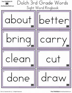Second Grade Dolch Sight Words Ring Book 4th Grade Sight Words, Teaching Sight Words, First Grade Sight Words, Dolch Sight Words, Math Words, Third Grade, Context Clues Worksheets, Fun Math Worksheets, Sight Word Worksheets