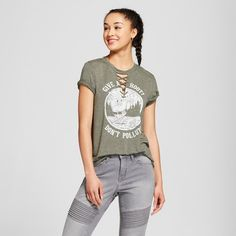 """Women's Woodsy Owl """"Give a Hoot, Don't Pollute"""" Lace-Up Short Sleeve Graphic T-Shirt - Modern Lux (Juniors') Green"""