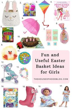 Fun and Useful Easter Basket Ideas For Girls! I've rounded up my favorite Spring finds for little girls for our annual Easter basket gift guide. These are items that your little girls will get some great use of out of during Spring and Summer. Easter Crafts For Toddlers, Easter Activities, Toddler Crafts, Easter Gift Baskets, Basket Gift, Tween Easter Basket Ideas, Baby Easter Basket, Girl Gift Baskets, Toddler Fun