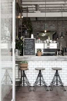 Vintage Cafe | Metalic counterstools | Find more Vintage Industrial Style Interior Designs at www.vintageindustrialstyle.com