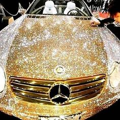Luxury Cars - haha wow - Prince Al-Waleed of Saudi Arabia commissioned a Mercedes covered in diamond Swarovski crystals for 48 million dollars. Sexy Cars, Hot Cars, My Dream Car, Dream Cars, Maserati, Bugatti, Mercedes Benz, Gold Mercedes, Car Cost