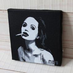 Quadro Angelina Jolie em tecido artístico 100% algodão com pintura em tinta acrílica, com a tecnica de stencil.  Envernizado para melhor proteção e durabilidade.   #art #stencil #quadro #NTSart #artistic