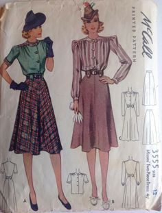 McCall 3555: Misses' two-piece dress pattern from 1940