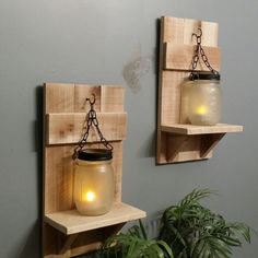 Wood Candle Holders Mason Jar Country by TeesTransformations Mason Jar Candle Holders, Rustic Candle Holders, Mason Jars, Dining Room Lighting, Country Decor, Wood Working, Candle Sconces, Woodworking Plans, Lanterns