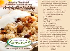 Protein Rice Pudding Rice Pudding Ingredients, Rice Pudding Recipes, Protein Recipes, Protein Foods, Healthy Recipes, Healthy Treats, Healthy Food, Healthy Eating