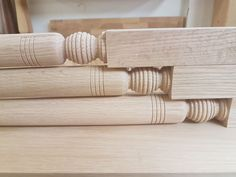 Close up detail of oak custom spindles. Napkin Rings, Detail, Wood, Home Decor, Madeira, Woodwind Instrument, Wood Planks, Trees, Interior Design