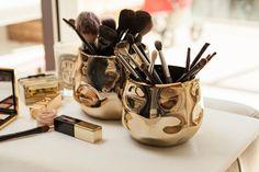 Make up storage - rose gold pots