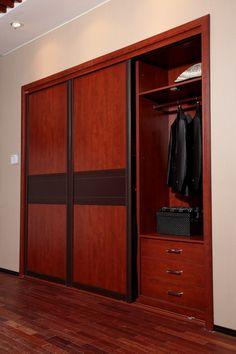 Antique Nut Brown Built-in Sliding Doors Wardrobe