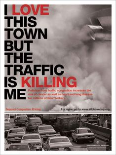 This is a poster that encourages anti-pollution. The use of both imagery and text make it a successful design. The use of red helps to emphasize key words while visual hierarchy is achieved through manipulation of the scale of the text. The layout and colors of the text works well with the imagery. The red text stands out against the neutral background.