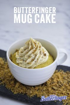 This magnificent mug requires just five simple ingredients: cake mix, water, oil, frosting and (most importantly) Butterfinger. Cuddle up with this easy-to-make cake on your next movie night.