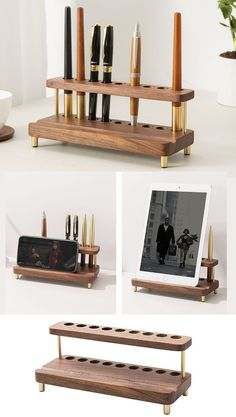 Multifunctional black walnut storage rack, which can be used as a wooden pen holder and a wooden mobile phone holder at the same time Wooden Pen Holder, Ipad Stand, Wood Sizes, Pen Holders, Storage Rack, Office Gifts, Phone Holder, Multifunctional, Black