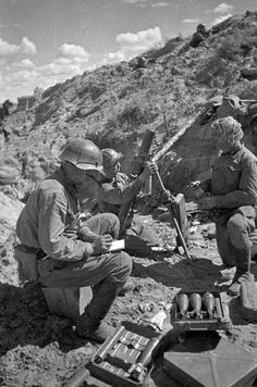 The Soviet team from the 82-mm mortar on the Khalkhyn Gol river