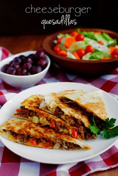 Cheeseburger Quesadillas. Low fuss way to get that yummy cheeseburger taste. Also great for using leftover ground beef!