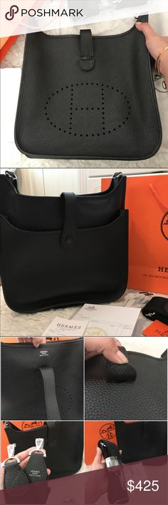 NEW Evelin Bag in black Comes with dust bag, paper bag reciepts and a care cards ✔️ perfect copy stitches ✔️high quality genuine leather made. The premium quality r e p l I c a 😍 Price Reflects Auth. Hermes Bags Crossbody Bags