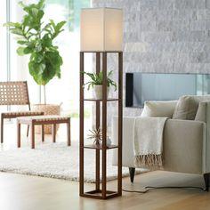 Shelf Floor Lamp Brown (Lamp Only) - Threshold™ : Target Shelf Lamp, Floor Lamp With Shelves, Wood Floor Lamp, Tree Floor Lamp, Floor Lamps, Floor Shelf, Corner Lamp, Ideas Hogar, Pallet Ideas