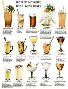 LIFE Magazine from 1946 - how to make 30 favorite classic cocktails! Bar Drinks, Cocktail Drinks, Cocktail Recipes, Beverages, Vintage Cocktails, Classic Cocktails, Alcohol Drink Recipes, Vintage Recipes, Happy Hour