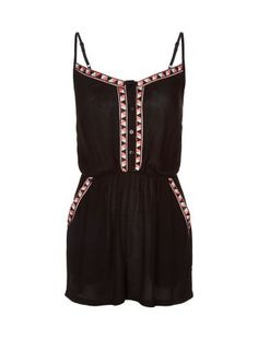 2241dd600257 It s the trim that gives this Black Aztec Trim Strappy Playsuit a colourful  and graphic edge