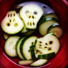 Skull cucumbers; halloween food