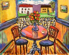 At Juice N' Java Coffee Shop Canvas Print by Russ Potak House Painting, Painting Prints, Canvas Prints, Paintings, Coffee Shop, Coffee Club, Kitchen Art, Whimsical Art, Art Google