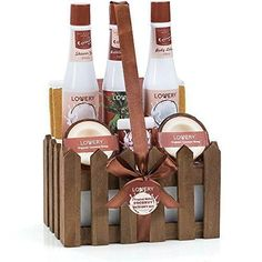 Organic Spa Gift Basket Set in Milky Coconut - Natural 8 Piece Bath & Body Spa Set For Men/Women - Contains 2 Organic Coconut Soaps, Shower Gel, Bubble Bath, Body Lotion, Back Scrubber, Towel & Crate