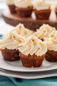 Mini gluten-free carrot cake cupcakes are made without grains or refined sugar. #glutenfree #onebite #almondflour