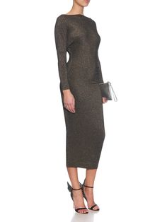 Thigh boat-neck midi dress | Vivienne Westwood Anglomania | MATCHESFASHION.COM Vivienne Westwood Anglomania, Boat Neck, Thighs, Stylists, Cold Shoulder Dress, Women Wear, High Neck Dress, Glamour, Long Sleeve