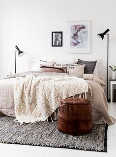 Floor lamps we love: Beautiful bedroom with bedside floor lamp