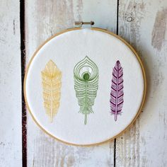 """Hoop Art - Feathers - Alternate Colour Scheme  - Machine Embroidered Wall Hanging - Size 8"""" - Embroidery Hoop Art"""