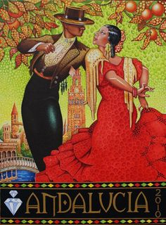 """Flamenco Dancers"" by Debbie Diamond Illustrations Vintage, Illustrations Posters, Art Posters, Vintage Advertisements, Vintage Ads, Photo Vintage, Flamenco Dancers, Poster Ads, Vintage Travel Posters"