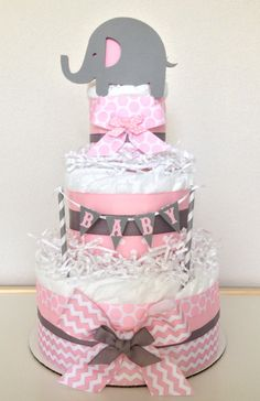 Chevron Pink and Gray Lil' Peanut Elephant Diaper Cake Baby Shower Centerpiece (diy cake banner) Idee Baby Shower, Shower Bebe, Baby Shower Diapers, Baby Shower Cakes, Baby Shower Parties, Baby Shower Themes, Baby Shower Gifts, Shower Ideas, Pink Diaper Cakes