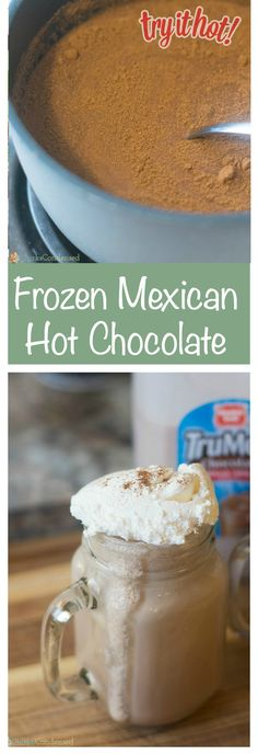 A delicious and creamy frozen Mexican hot chocolate recipe. Not in the mood for frozen? Try it hot, too! Mexican Hot Chocolate, Hot Chocolate Recipes, Chocolate Smoothies, Chocolate Shakeology, Chocolate Crinkles, Chocolate Drizzle, Chocolate Chocolate, Chocolate Desserts, Yummy Treats