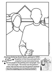20 unique activities your kids will love. Grant Wood, American Gothic, art and classroom sub lessons. Art Sub Plans, Art Lesson Plans, Grant Wood American Gothic, Art Classroom Management, Art Handouts, Art Grants, Art Worksheets, Wood Painting Art, Wood Art