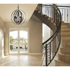 Sphère suspendu bronze avec chandelier à l'intérieur et accents de cristal. Idéal pour salle à manger, chambre à coucher, entrée et escalier.