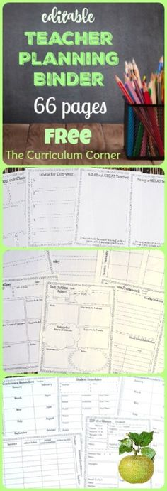 FREE Editable Teacher Planning Binder - 66 editable pages from The Curriculum Corner This is the teacher binder for you! It has been designed to include everything you need to get your school year started on an organized note. Teacher Organization, Teacher Tools, Teacher Hacks, Teacher Resources, Organized Teacher, Teachers Toolbox, Teaching Ideas, Organizing, Learning Organization