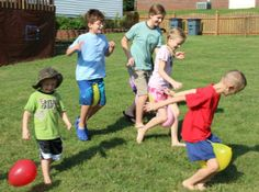 Olympics Water Fun: balloon-between-the-knees race, balloon-with-a-friend race, Crab walk, Marble toe grab, Fill-the-pitcher relay, Fill-the-bucket-with-a sopping-wet-towel relay,  water balloon freeze tag.