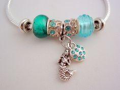 H2O Just Add Water Inspired European Style Charm Bracelet Moon Pool Sea Blue Crystals Mermaid Rhinestone Heart