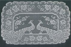 """Picture of """"Peacock"""" Filet Buffet Scarf Free Pattern"""