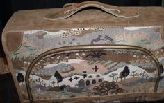 Vintage 1980's Floral Landscape with Animals French Luggage Company Landscape Tapestry and Leather/Suede Trim Suitcase - http://oleantravel.com/vintage-1980s-floral-landscape-with-animals-french-luggage-company-landscape-tapestry-and-leathersuede-trim-suitcase