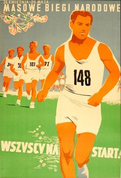Running All to Start Line, 1950s - original vintage poster by C. Borowczyk listed on AntikBar.co.uk