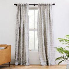 "Honeycomb Jacquard Curtain, Burnt Copper, 48""x96"" | West Elm"