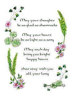 Flowers for an Irish Mother. Irish bells, shamrocks, green carnations, wild Irish roses. Original watercolor by Joni Russell.