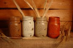 Sugar 'n Spice PINT size painted mason jars by PineknobsAndCrickets, $20.00