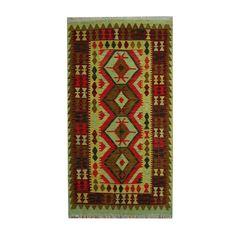 Herat Oriental Afghan Hand-woven Vegetable Dye Tribal Wool Kilim (3'7 x 6'5) (Afghan Hand-woven Wool Area Rug), Red, Size 4' x 6' (Natural Fiber, Geometric)