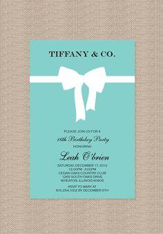 Tiffany Birthday Party Invitations - Inspired by Tiffany Blue Box. $15.00, via Etsy.