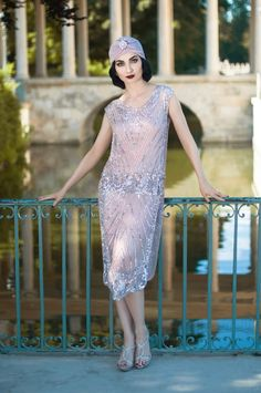 1920s Style Dresses 1920s Beaded Vintage Deco Tabard Panel Gown - The Modernist - Silver on Rose Pink $279.95 AT vintagedancer.com