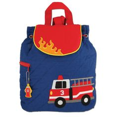 The Stephen Joseph Firetruck quilted backpack is 100% cotton and machine washable. It is the perfect size for preschoolers (approx. 12″ X 13.5″). It is fully lined and has a magnetic snap closure and a fun coordinating zipper pull. If you'd like to add a name or monogram on the flap, please include the details, such as name, spelling, font, thread colors, etc., in the Message to Store box.