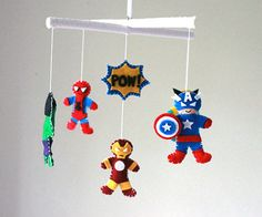 Baby Mobile - Baby Crib Mobile -I Super Hero Mobile - Baby Boy Mobile. Going to try to make this