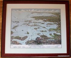 Bird's eye view high quality print of a 1920 south shore map of the Massachusetts coastline, south Boston looking toward Cape Cod, including Boston Harbor Islands. $265.00 as framed.